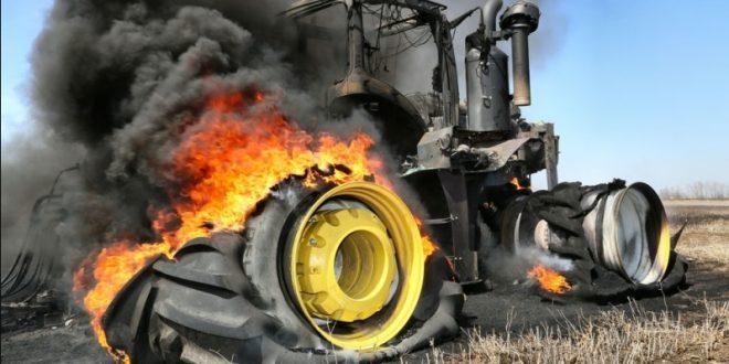 Požar na traktoru u Kućancima